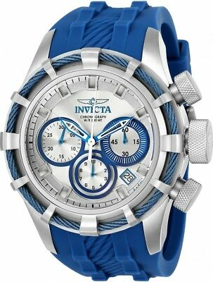 22152 Invicta Bolt Quartz Chronograph Mens 50mm Silver Dial Silicone Strap Watch