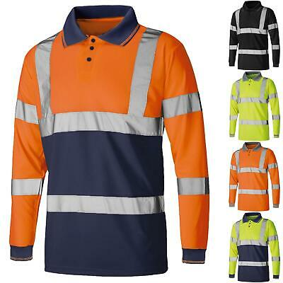 Hi Viz Polo T-Shirt Visibility Reflective Security Tape High Vis Safety Work Top