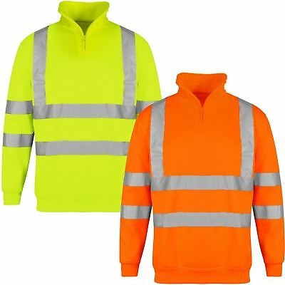 Hi Viz High Neck Jumper Fleece Vis Visibility Quarter Zip Sweatshirt Reflective