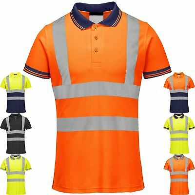 Hi viz visibility polo t shirt reflective tape safety high for Hi vis shirts with reflective tape