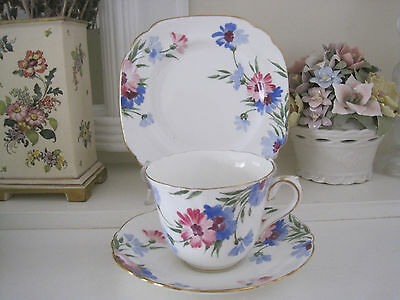 Beautiful Vintage Crown Staffordshire Blue & Red Hp Flowers Fine Bone China Trio
