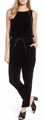 fe2bc579a1a7 Large  388 Nwt Eileen Fisher Black Velvet Stretch Drawstring Slouchy  Jumpsuit