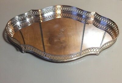 """Antique William Adams Reticulated 11.5"""" Silverplate Footed Gallery Serving Tray"""