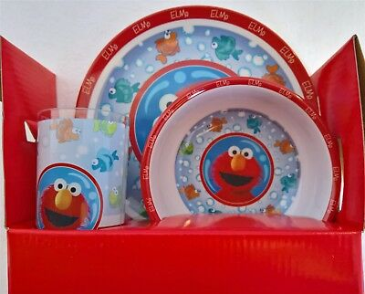~ Sesame Street - DINNER ELMO LUNCH FEEDING SET MEALS Plate Bowl Cup