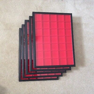 "Box (of 5) 12"" x 16"" Display Cases (""Riker"" type) with Red Dividers (35 Squares)"