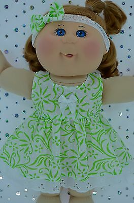 "Play n Wear Doll Clothes For 14""Cabbage Patch WHITE/LIME FLOWER DRESS~HEADBAND"