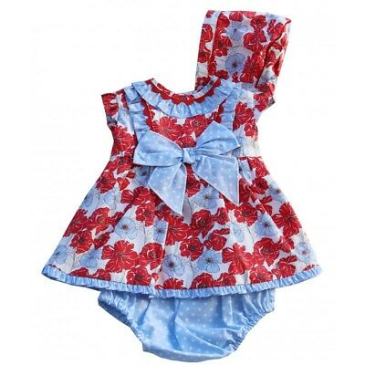 A Baby Girls Spanish Romany  Blue Red Floral Dress & Bonnet Set 3 - 24Months