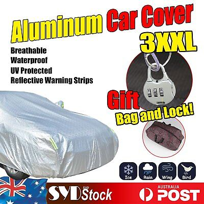 Breathable Aluminum Car Auto Cover XXL Waterproof Rain UV Dust Resistant Protect