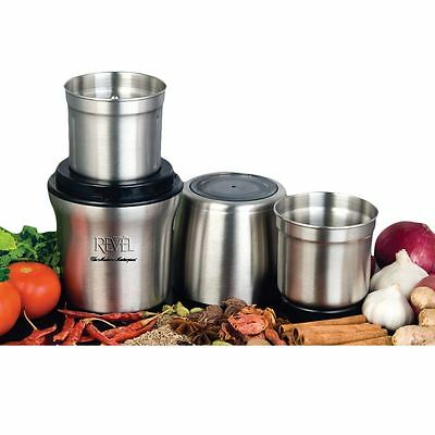 Revel CCM102 Stainless Steel Wet 'N Dry Spice Grinder with 2 Separate Bowls New