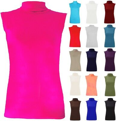 Womens Ladies Plain Polo Turtle Roll Neck Sleeveless Stretch Jersey Basic Top