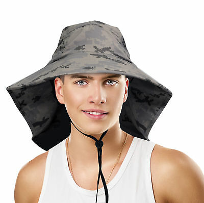Sun Blocker Large Bill Flap Sun Hat Camping Hiking Hunting Fishing Cap Gray New