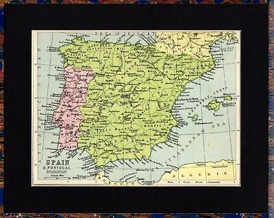 Antique MAP ~ SPAIN & PORTUGAL ~ 1934 MOUNTED Original 80+ Yrs Old