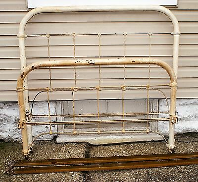 Ornate Antique Wroght Iron Metal Full Size Bed With Tapered Pine Cone Rails