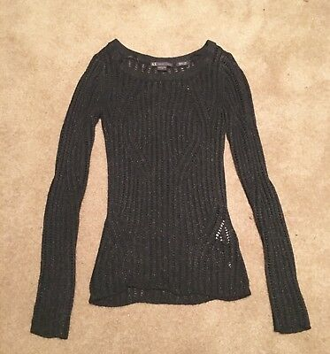 Women's Armani Exchange Size XS Black Open Knit Sweater from Armani Exchange