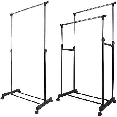 Garment Rack Single Double Silver Black Adjustable Portable Clothes Rail Stand