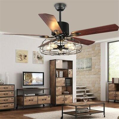 BAYCHEER HL449148 Industrial Wrought Iron Style Fan Semi Flush Ceiling Light Han