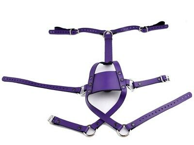 PURPLE HOT HANDCRAFTED Premium leather ball muzzle panel gag top quality G06Ppl