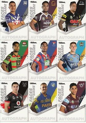 2018 Nrl Traders Faces Of The Game Trading Card Team Sets - Storm, Dragons,
