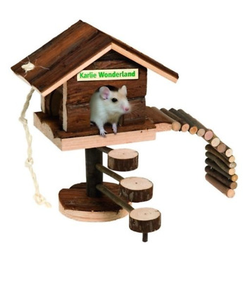 Wooden Hamster Tree House Bed with Playground Gerbil Mice Chew Toy Exercise Gym