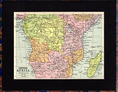 Antique MAP ~ CENTRAL AFRICA ~ 1934 MOUNTED Original 80+ Years Old