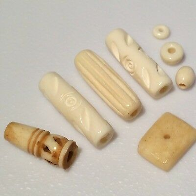 Lot Of Vintage Hand Carved Natural Beads For Prayer Necklaces/jewellery Making.