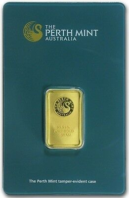 10 Gram Perth Mint Gold Bar  .9999 Fine -  In Assay Card - Own Yours Today!