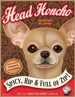 Retro Pets - Chihuahua Art - Head Honcho - 8x10 Art Print from the Coffee Dogs -