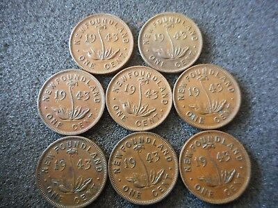 8 Newfoundland Canada One Cent Pennies  1943 fc2