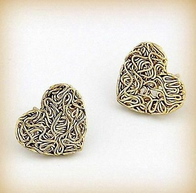 Pendientes Corazon Vintage Dorado Envejecido / Dark Golden Heart Earrings Ch134
