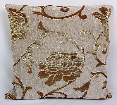 Saybil Grey Luxury Floral Chenille Cushion Cover with Gold Floral Design 18x18