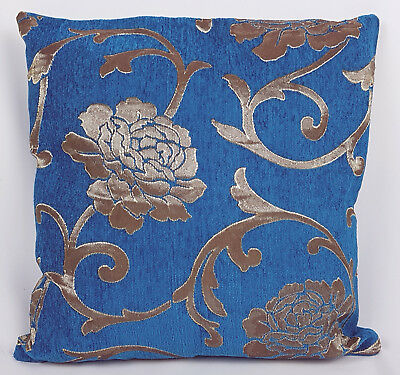 Saybil Blue Luxury Floral Chenille Cushion Cover with Gold Floral Design 18x18