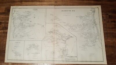 Antique MAP - LYME & PLYMOUTH - GRAFTON CO., N.HAMPSHIRE - 1892 ATLAS