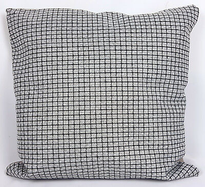 Saybil Grey & Black Woven Cushion Cover with Crosshatch Design 18x18 45cm x 45cm
