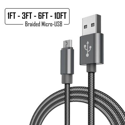 Fast Charger Cable Cord Micro USB Nylon Braided Data Sync Charging for Samsung