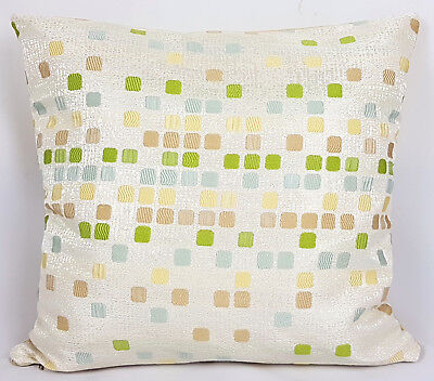 """Saybil Beige and Green Mosaic Style Cushion Cover 18"""" x 18"""" 45cm x 45cm"""