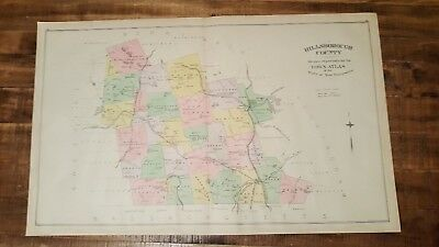 Antique/Colored MAP - HILLSBOROUTH COUNTY - N.HAMPSHIRE - 1892 ATLAS