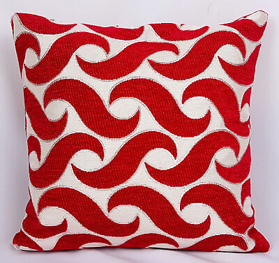 "Saybil Red Luxury Chenille Cushion Cover with Waves Design 18""x18"" 45cm x 45cm"