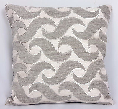 "Saybil Grey Luxury Chenille Cushion Cover with Waves Design 18""x18"" 45cm x 45cm"