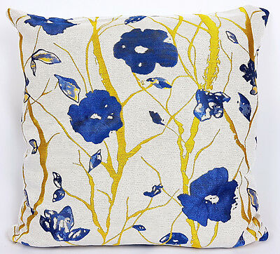 "Saybil Blue and Gold Luxury Floral Design Cushion Cover 18"" x 18"" 45cm x 45cm"