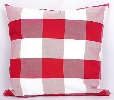 """Saybil Red and White Check Pattern Cushion Cover 18"""" x 18"""" 45cm x 45cm"""