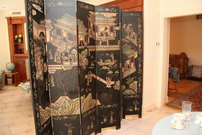 Chinese Black Laquer Room Divider, Privacy Panel
