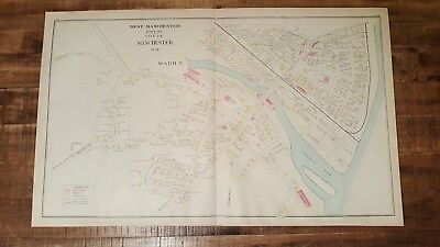 Antique, Colored MAP- WEST MANCHESTER - N.HAMPSHIRE - 1892 ATLAS