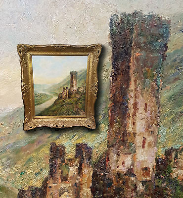 Castle Beilstein at the mosel. Antique Oil Painting, Sign Heinrich Bader (1893