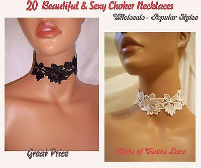 Women's Fashion 20 Beautiful Sexy Lace Choker Necklaces Wholesale, Wholesale