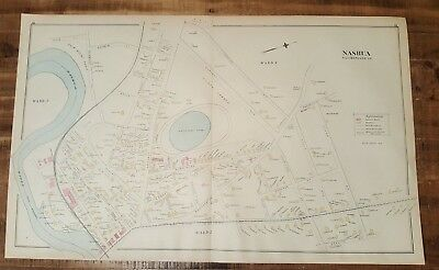 Antique MAP - NASHUA - HILLSBOROUGH COUNTY - N.HAMPSHIRE - 1892 ATLAS