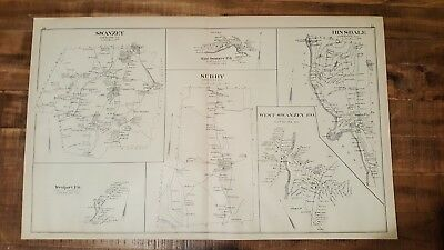 Antique MAP - SWANZEY, SURRY, HINSDALE, WESTPORT - N.HAMPSHIRE - 1892 ATLAS