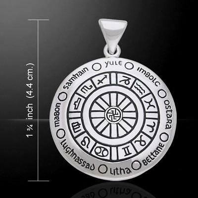 Wheel Of The Year sterling silver Wicca Pendant by Peter Stone pagan festivals