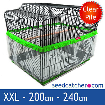 Bird Cage Seed Catcher Guard Tidy Pile Fabric Green XXL 240cm Double Strap
