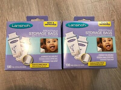 NEW Lansinoh Breastmilk Storage Bags 100 per box (2 boxes)