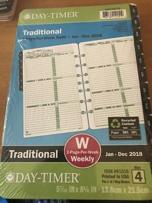 Day Timer Traditional Refill 2018 Two Page Per Week Size 4 W 5.1/2 X 8.1/2 inch